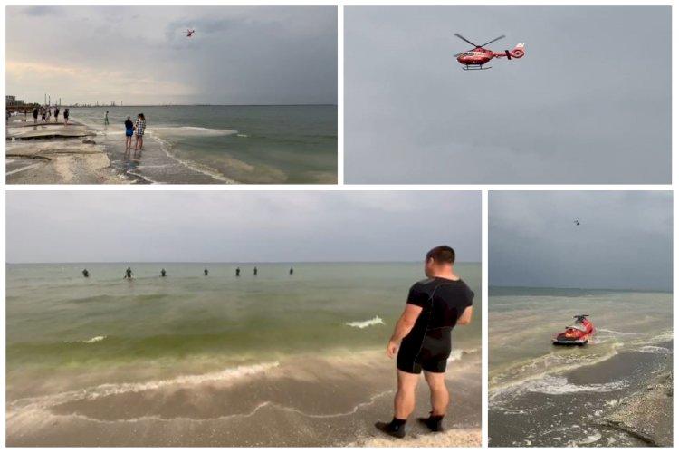 Turist aflat în largul mării, în Mamaia Nord, căutat cu două ambarcaţiuni şi un elicopter