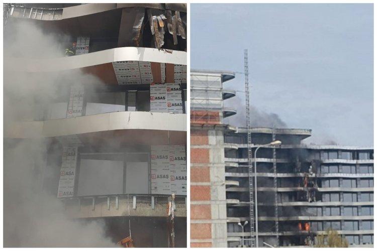 Incendiu la un bloc din Mamaia Nord. Focul a pornit de la un lift exterior al clădirii